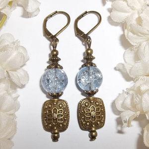 Boho Blue & Bronze Earrings Dangle Handmade 5108